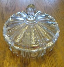 Anchor Hocking Old Cafe Vintage Clear Glass Lidded Candy Dish (Lid Chipped)