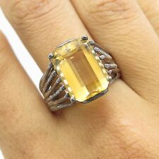 Signed C^A Vtg Sterling Silver Large Yellow Citrine Gem Womens Wide Ring Size 8