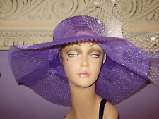 """Derby Hat PURPLE AND WHITE Church Wide Brim Hats 22 1/2"""" Circumference"""