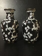 "SET 2 ANTIQUE CHINESE 8"" CLOISONNE VASE FLOWER ENAMEL BRASS Black white Pair"