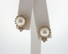 Estate White Cultured Pearl 1/2ct Genuine Diamond Solid 14k Yellow Gold Earrings