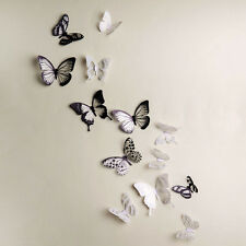 1x 18 Pieces 3D Butterfly Crystal Transparent Decor Wall Sticker Home Wall Decal