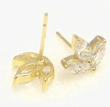 fashion1uk 14K Yellow Gold Plated Cubic Zirconia Maple Leaf Stud Earrings