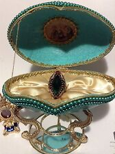 PRINCESS VICTORIAN FILIGREE STYLE NATURAL EMERALD RING WITH RUSSIAN RUBIES
