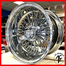 13x7 REVERSE 72 SPOKE WIRE WHEELS CROSS LACE ALL CHROME RIMS (4pcs)