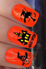 NAIL ART SET #652 x24 HALLOWEEN WITCH PUMPKIN BAT WATER TRANSFER DECALS STICKERS