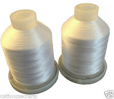 CATHOUZE CRAFTS MACHINE EMBROIDERY THREAD TWO 1100 YARD SPOOLS WHITE