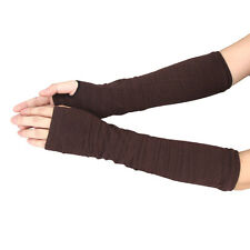 Winter Wrist Arm Hand Warmer Knitted Long Fingerless Gloves Mitten Coffee