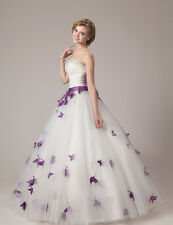 Vintage Strapless White and Purple Wedding Dress Beading Backless Ball Gown