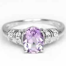 Sterling Silver 925 Genuine Natural Oval Amethyst Solitaire Ring Size S.5 US9.5