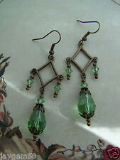VINTAGE VICTORIAN THEMED EARRINGS - PERIDOT GREEN CHANDELIER SWAROVSKI ELEMENTS