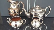 VINTAGE EDWARDIAN FOUR PIECE TEA SERVICE BURSLEM GIBSON & SONS SILVOE ART WARE