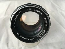 Minolta MC Rokkor 58mm F1.4 Manual Focus Fast Prime Lens - Excellent Condition