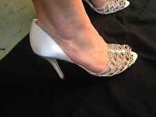Bourne shoes, Ivory Satin and Diamante, leather sole, size 5/38