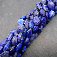 "Lapis Lazuli Faceted Oval Beads 15"" Strand Semi Precious Gemstone"