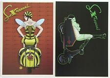 SX scooter postcard set Vespa Queen Bee + Bride of Lambretta mod Halloween theme