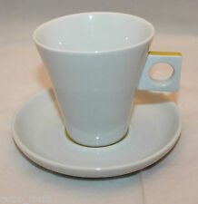Nescafe Dolce Gusto White Cappuccino Cup Saucer Set Mustard Yellow AS-IS