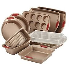 Rachael Ray 10-Piece Cucina Nonstick Bakeware Set, Latte Brown with Cranberry...