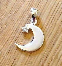 Moon Star Charm 925 Sterling Silver w/ CZ Bail for Necklace Women Jewellery UK