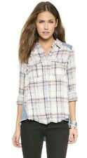 New Free people Road Trip Flannel Shirt denim Ivory Combo Xs Anthropologie Plaid