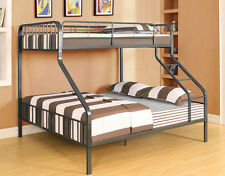 NEW COBALT CONTEMPORARY GUNMETAL FINISH XL TWIN OVER QUEEN BUNK BED
