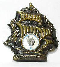 Vintage Galleon Sailing Ship Wall Desk Thermometer European Celsius Scale