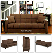 Futon Convertible Couch Sofa Bed Microfiber Sleeper Living Room Furniture Brown