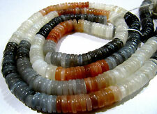 """Natural Multi Moonstone Smooth Tyre Shape German Cut Beads , Size 8mm, Length 8"""""""