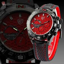 SHARK Men's 6 Hands Date Day Red Dial Sport Quartz Wrist Watch + Gift Box SH082