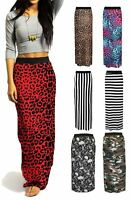 Womens Jersey Long Stretch Maxi Print Pattern Gypsy Summer Tube Skirt Dress