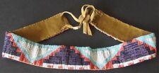 Older Great Plains Indian Native American Beaded Hat Band On Deer Hide 1890-1910