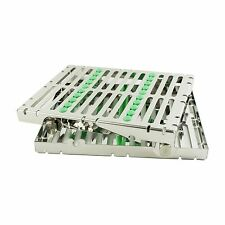 Dental Instrument Autoclave Sterilization Cassette Tray Racks Box - 10 Ins Green