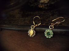 Vintage Peridot & Emerald Green Crystal Drop Pierced Earrings with leaf detail
