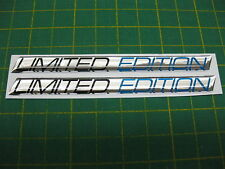 2 LIMITED EDITION DOMED STICKERS v004 slanted Black & Blue on Chrome
