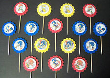 16 MINI- SONIC THE HEDGEHOG Cupcake Toppers / Sandwich Spears party favors