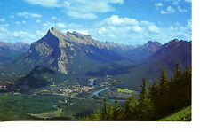Aerial Scenic View-Town of Banff-Canadian Rockies-Mt Rundle-Vintage Postcard