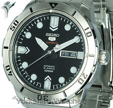 New SEIKO SPORTS AUTO BLACK FACE WITH STAINLESS STEEL BRACELET SRP671J1