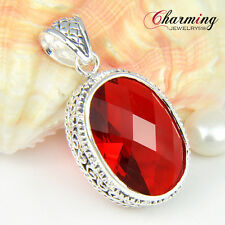 Best Valentine's Day Women Gift Fire Red Garnet Gems Silver Necklace Pendant