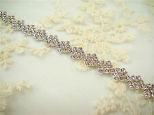 Stunning Wedding Applique Beaded Motif Crystal Bridal Applique Diamante Trim