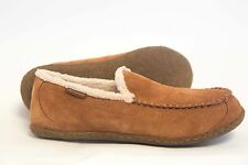 Men's Columbia Big Sky Moccasin Shearling Suede Leather Slippers Brown Size 13