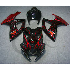 Red Flames INJECTION ABS Plastic Fairing For SUZUKI GSXR 600 750 06-07 K6 12B