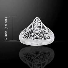 Oak Ash Thorn Ring .925 Sterling Silver Sz 7 Faerie Magick Triquetra Moonstone