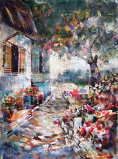 "NEW BEAUTIFUL SERA KNIGHT ORIGINAL ""Country House in the Med,Turkey"" PAINTING"
