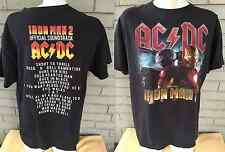 AC/DC Iron Man 2 Movie Soundtrack 2-Sided Black T-Shirt Rock n' Roll Large