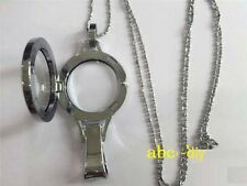 """(New Style)Plain Lanyard Floating Charm Locket + Necklace Rolo Chain 24"""""""