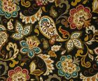 Upholstery ~ Decorator ~ Paisley Floral on Black B ~ Fabric~per 1/4 yard