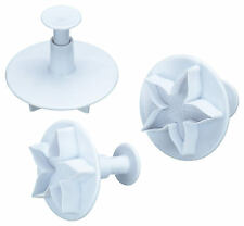 Kitchen Craft Set of 3 Lotus Flower Fondant Icing Plunger / Biscut Cutter Stamps