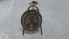 Antique Brass very ornate table picture frame Fancy oval 19th Cent Victorian
