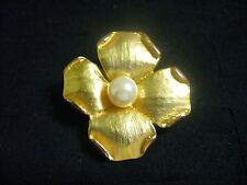 Vintage Textured Goldtone Metal Faux Pearl Dogwood Blossom Brooch Pin