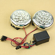 LED 12V 2x 15 Round Daytime Running Driving Lights DRL Front Fog Tail Work Lamp